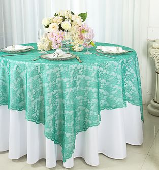 "72"" Square Lace Table Overlays - Jade 90726 (1pc/pk)"