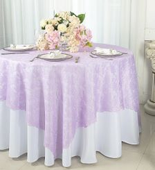 "72"" Square Lace Table Overlays - Lavender 90711 (1pc/pk)"