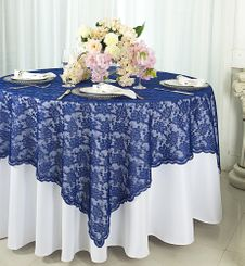 "72"" Square Lace Table Overlays - Navy Blue 90723 (1pc/pk)"