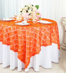 "72"" Square Lace Table Overlays - Orange 90733 (1pc/pk)"