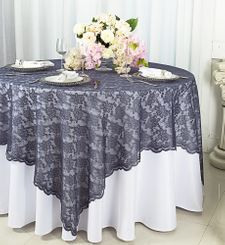 "72"" Square Lace Table Overlays - Pewter 90760 (1pc/pk)"