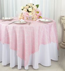 "72"" Square Lace Table Overlays - Pink 90705 (1pc/pk)"
