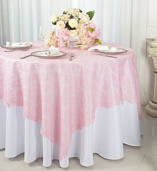 """72"""" Square Lace Table Overlays - Pink 90705 (1pc/pk)"""