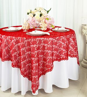 """72"""" Square Lace Table Overlays - Red 90712 (1pc/pk)"""