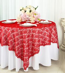 "72"" Square Lace Table Overlays - Red 90712 (1pc/pk)"