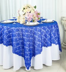 "72"" Square Lace Table Overlays - Royal Blue 90722(1pc/pk)"