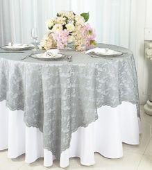 """72"""" Square Lace Table Overlays - Silver 90740 (1pc/pk)"""
