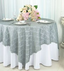 "72"" Square Lace Table Overlays - Silver/Gray 90740 (1pc/pk)"