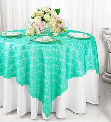 "72"" Square Lace Table Overlays - Tiff Blue / Aqua Blue 90718(1pc/pk)"