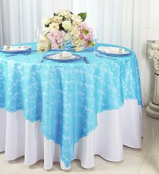 """72"""" Square Lace Table Overlays - Turquoise 90785 (1pc/pk)"""