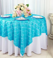 "72"" Square Lace Table Overlays - Turquoise 90785 (1pc/pk)"