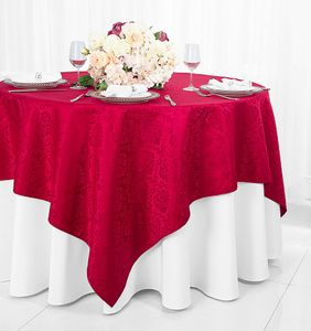 "72"" Square Marquis Damask Jacquard Polyester Table Overlays (12 colors)"