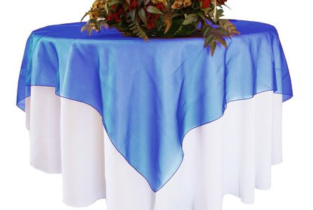 """72"""" Square Organza Table Overlays (41 colors)"""
