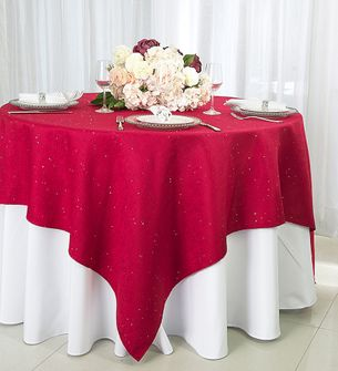 """72"""" Square Paillette Poly Flax Table Overlay - Apple Red 10508 (1pc/pk)"""