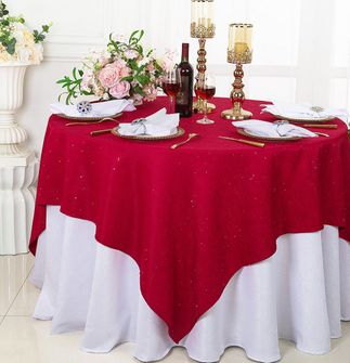 """72"""" Square Sequin Paillette Poly Flax Table Overlay - Apple Red 10508 (1pc/pk)"""