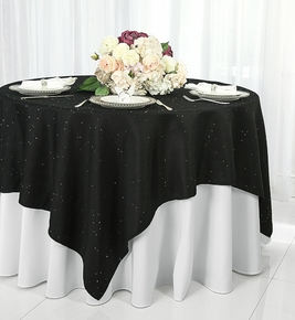 "72"" Square Paillette Poly Flax Table Overlay - Black 10539 (1pc/pk)"