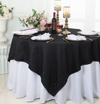 """72"""" Square Sequin Paillette Poly Flax Table Overlay - Black 10539 (1pc/pk)"""