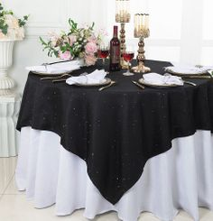 "72"" Square Sequin Paillette Poly Flax Table Overlay - Black 10539 (1pc/pk)"