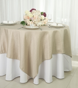 "72"" Square Paillette Poly Flax Table Overlay - Champagne 10528 (1pc/pk)"
