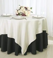 """72"""" Square Paillette Poly Flax Table Overlay - Ivory 10502 (1pc/pk)"""
