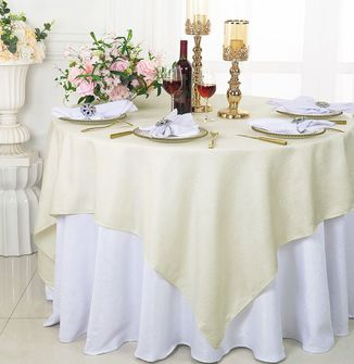 """72"""" Square Sequin Paillette Poly Flax Table Overlay - Ivory 10502 (1pc/pk)"""