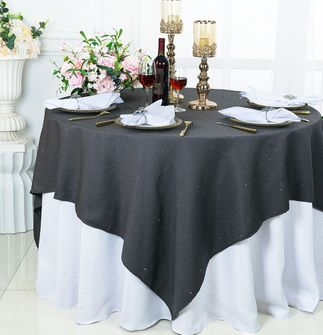 """72"""" Square Sequin Paillette Poly Flax Table Overlay - Pewter / Charcoal 10560 (1pc/pk)"""