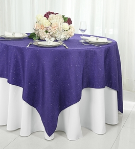 """72"""" Square Paillette Poly Flax Table Overlay - Regency 10563 (1pc/pk)"""