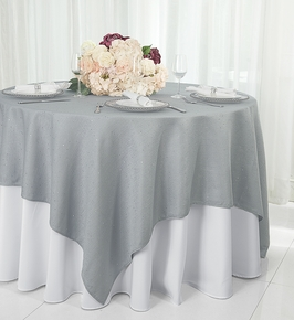 """72"""" Square Paillette Poly Flax Table Overlay - Silver 10540 (1pc/pk)"""