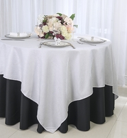 """72"""" Square Paillette Poly Flax  Table Overlay - White 10501 (1pc/pk)"""