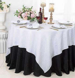 """72"""" Square Sequin Paillette Poly Flax  Table Overlay - White 10501 (1pc/pk)"""