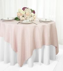 "72"" Square Paillette Poly Flax Table Overlay - Blush Pink 10515 (1pc/pk)"
