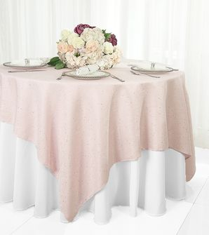 """72"""" Square Paillette Poly Flax Table Overlay - Blush Pink 10515 (1pc/pk)"""