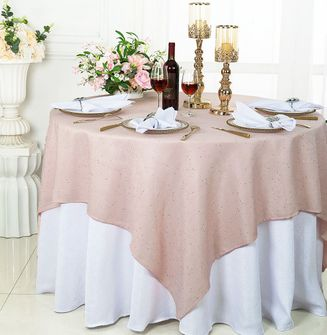 """72"""" Square Sequin Paillette Poly Flax Table Overlay - Blush Pink 10515 (1pc/pk)"""