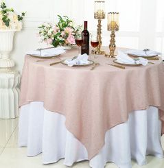 "72"" Square Sequin Paillette Poly Flax Table Overlay - Blush Pink 10515 (1pc/pk)"