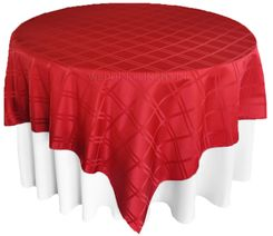 "72"" Square Plaid Polyester Jacquard Table Overlays - Apple Red  87408(1pc/pk)"