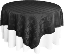 "72"" Square Plaid Polyester Jacquard Table Overlays - Black 87439 (1pc/pk)"