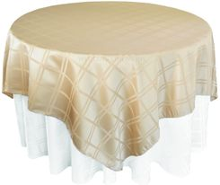 "72"" Square Plaid Polyester Jacquard Table Overlays - Champagne 87428(1pc/pk)"