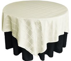 "72"" Square Plaid Polyester Jacquard Table Overlays - Ivory 87402(1pc/pk)"