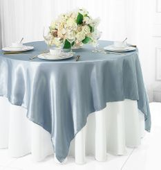 "72"" Square Satin Table Overlays - Dusty Blue 51103 (1pc/pk)"