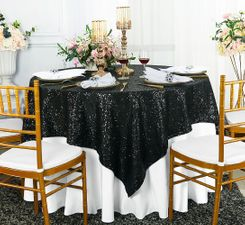 "72"" Square Sequin Taffeta Table Overlay - Black 01839 (1pc/pk)"