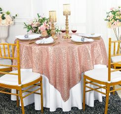 "72"" Square Sequin Taffeta Table Overlay - Blush Pink 01815 (1pc/pk)"
