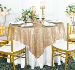 "72"" Square Sequin Taffeta Table Overlay - Champagne 01828 (1pc/pk)"