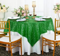 "72"" Square Sequin Taffeta Table Overlay - Emerald Green 01838 (1pc/pk)"