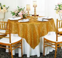 "72"" Square Sequin Taffeta Table Overlay - Gold 01827 (1pc/pk)"