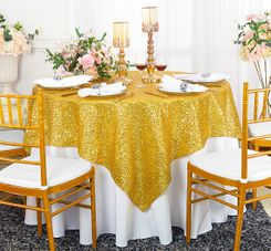 "72"" Square Sequin Taffeta Table Overlay - Light Gold 01803 (1pc/pk)"