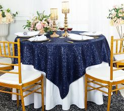 "72"" Square Sequin Taffeta Table Overlay - Navy Blue  01823 (1pc/pk)"