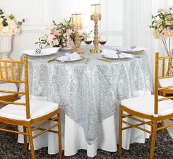 "72"" Square Sequin Taffeta Table Overlay - Platinum 01871 (1pc/pk)"