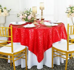 "72"" Square Sequin Taffeta Table Overlay - Red 01812 (1pc/pk)"