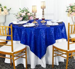 "72"" Square Sequin Taffeta Table Overlay - Royal Blue 01822 (1pc/pk)"