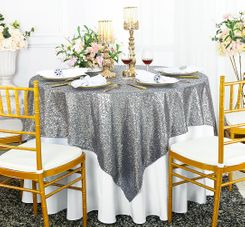 "72"" Square Sequin Taffeta Table Overlay - Silver 01840 (1pc/pk)"